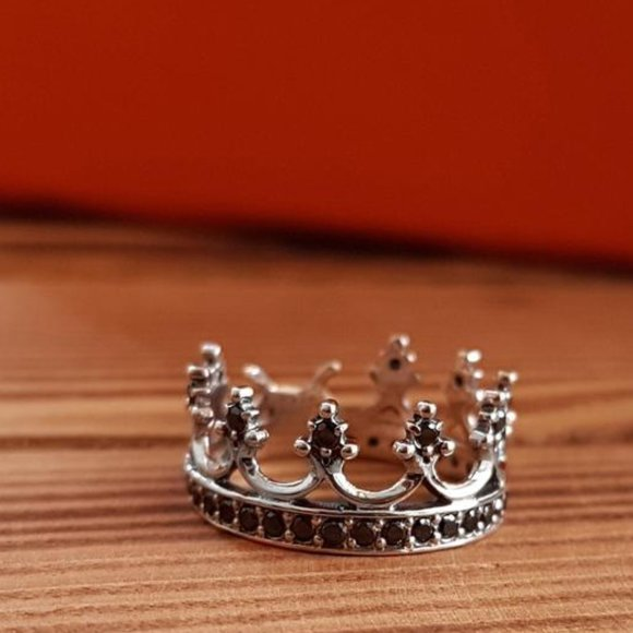 crown tiara sterling silver ring black zircon sz 6